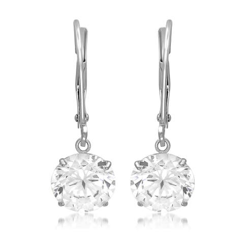 Marabela 14k White Gold Round Cubic Zirconia Dangling Earrings with Lever-back - Clear