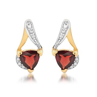 Marabela Sterling Silver Two-Tone Trillion-Cut Gemstone and Diamond Accent Stud Earrings