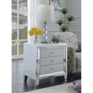 Best Quality Furniture White Lacquer 3-drawer Nightstand with Mirror Trim
