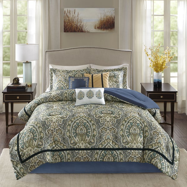 Madison Park Madison Teal Charmeuse Printed 7-piece Comforter Set