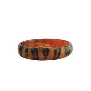 Solid Coffee Jade Bangle in Tiger Design - Size 7.5 - 8