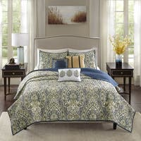 Madison Park Madison Teal Charmeuse Printed 6-piece Coverlet Set