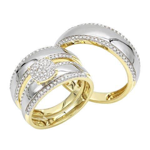 Luxurman 10K Gold Engagement His and Hers Trio Diamond Wedding Ring Set 0.5ct