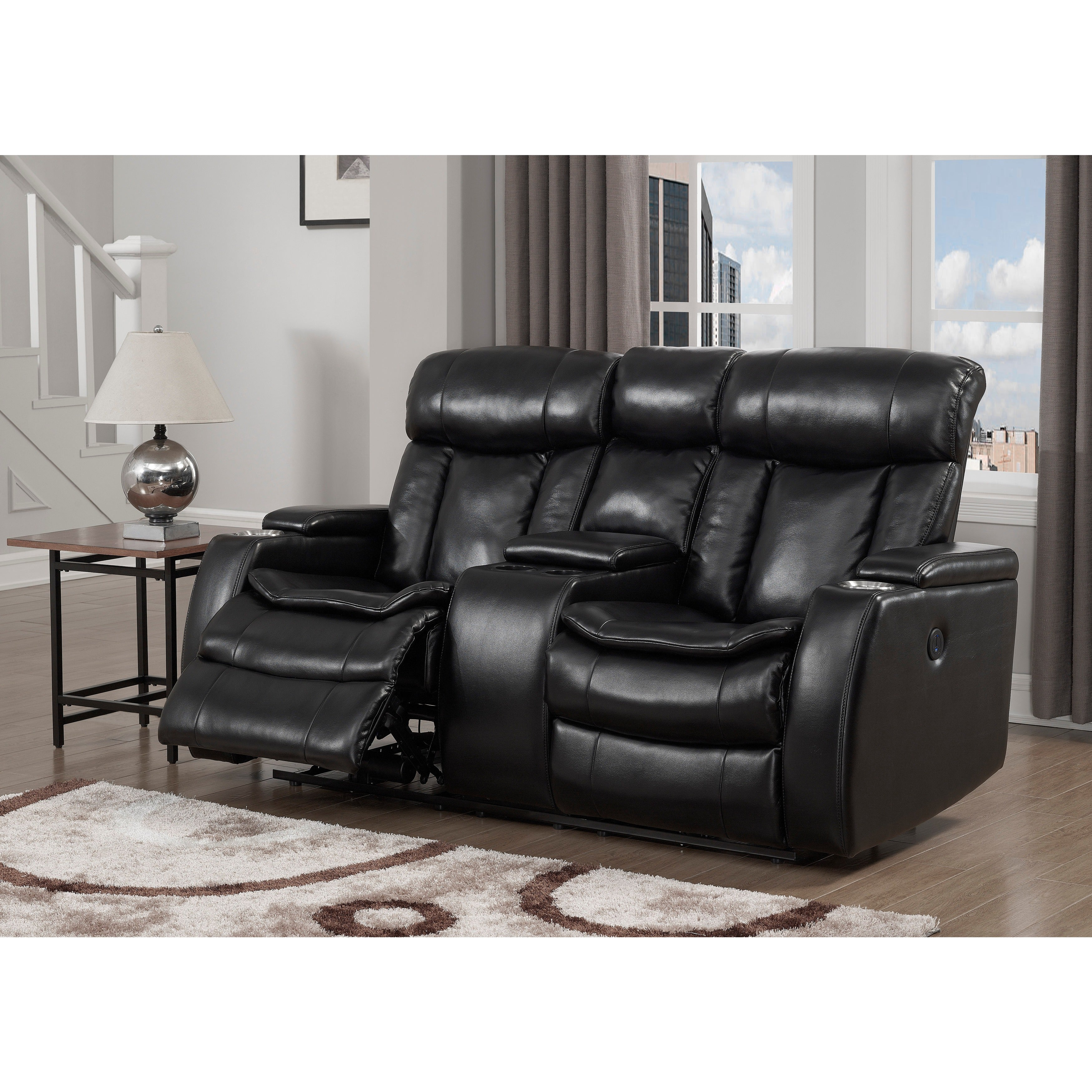 Shop Black Friday Deals On Black Power Recliner Loveseat With Usb On Sale Overstock 17678286
