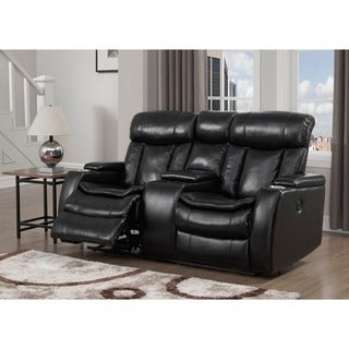 Black Power Recliner Loveseat with USB