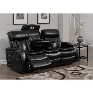 Bluetooth Black Power Recliner Sofa with USB