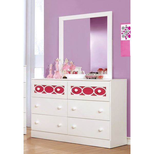 Circle Contemporary 2-piece 6-drawer Dresser and Mirror Set by FOA