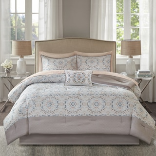 Madison Park Essentials Nima Blush Printed Complete Comforter and Cotton Sheet Set
