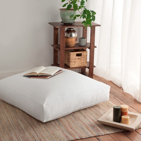 Giant 36-inch Dorm University Floor Cushion Down and Feather Pillow - White