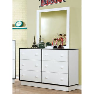 Furniture of America Trime Contemporary 2-piece Two-tone 6-drawer Dresser and Mirror Set
