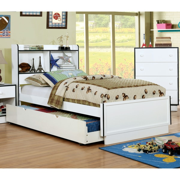 Furniture Of America Trime Contemporary Full Size Platform Bed With Bookcase Headboard