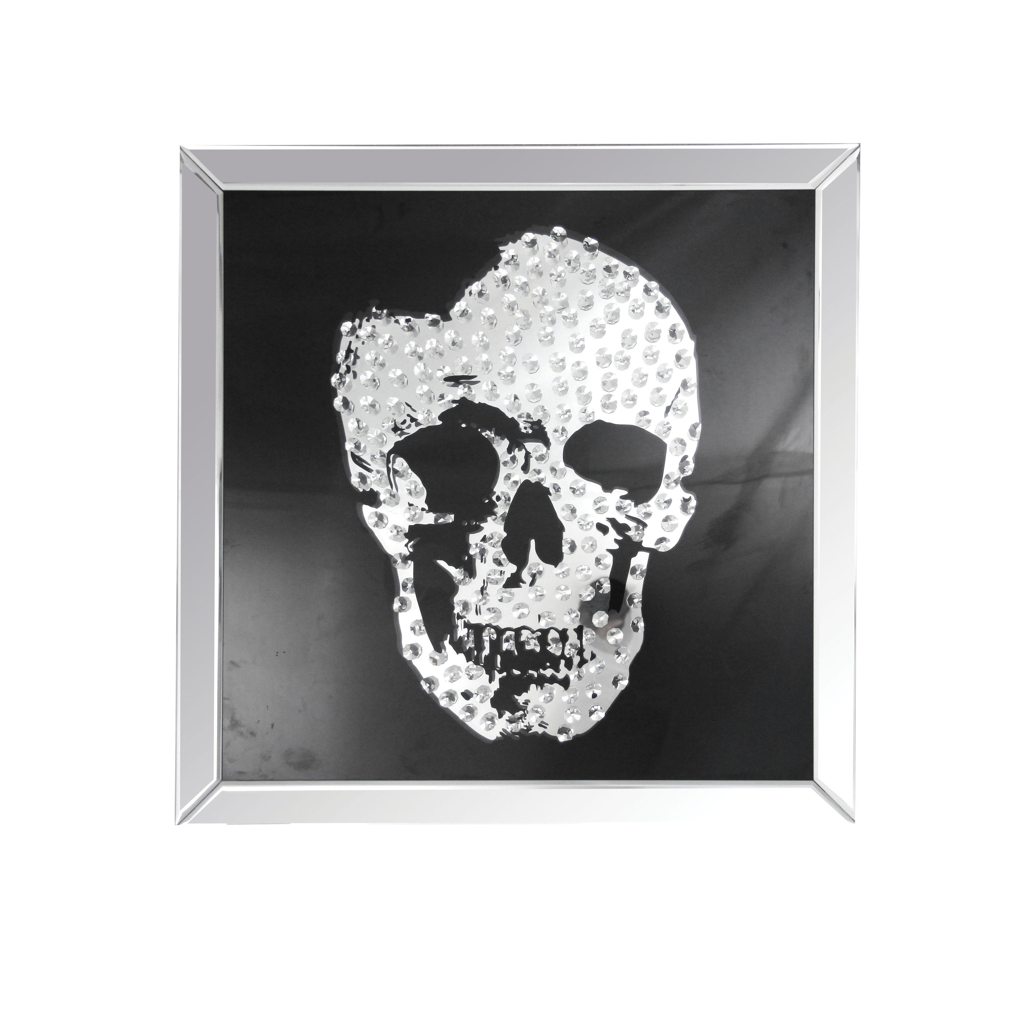 Acme Furniture Nevina Mirrored Crystal Skull Wall Decor, ...