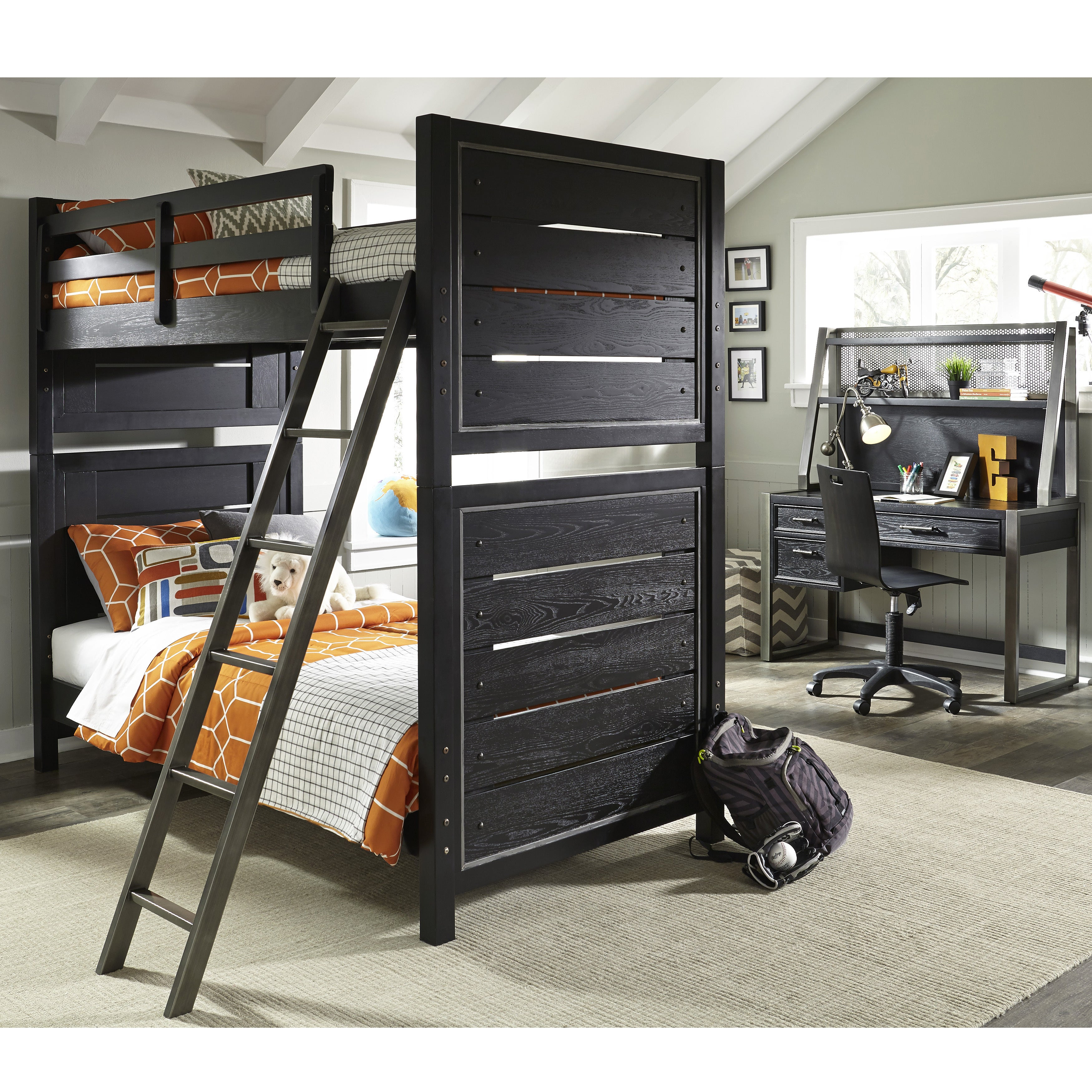 Lawrence Pulaski Graphite Youth Bunk Bed with Full Extens...