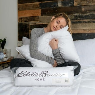 Eddie Bauer 300 Thread Count Eco Friendly Rolled White Down Pillow (2 options available)