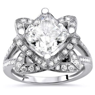 2ct Cushion Cut Moissanite Center 3/5ct Diamond Surrounding Engagement Ring Lotus Flower 14k White Gold