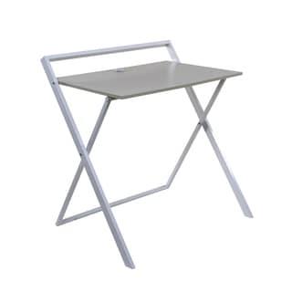 OneSpace Basics 50-1020QA01 No Assembly Folding Desk with Dual USB Charger, Whitewashed Oak/White
