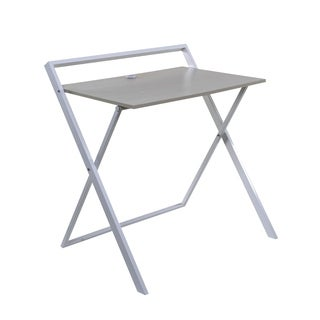 OneSpace Basics 50-1020QA01 No Assembly Folding Desk with Dual USB Charger, Whitewashed Oak/White