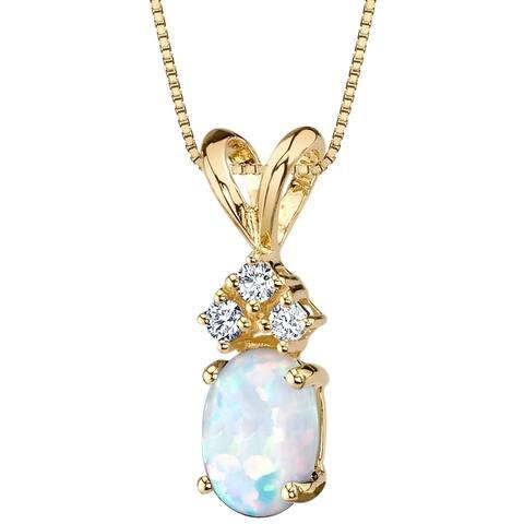 Oravo 14K Yellow Gold Gold Oval Shape Created Opal Diamond Pendant