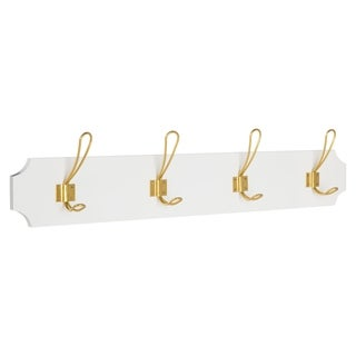 Kate and Laurel Skara Wall Coat Rack Wood with 4 Metal Hooks, White and Gold