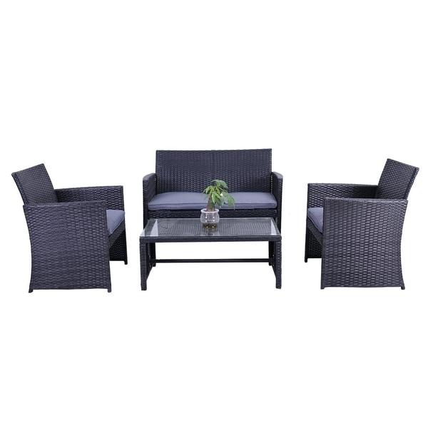 ALEKO Indoor Outdoor Manhattan Rattan 4 Pcs Patio Furniture Set