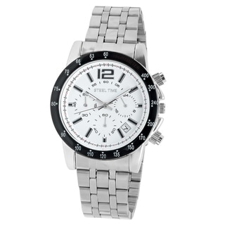 Steeltime Men's Black and White Alloy Face Watch