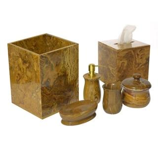 Polished Marble 6-Piece Bath Set, Amber, Shower and Bathroom Accessory