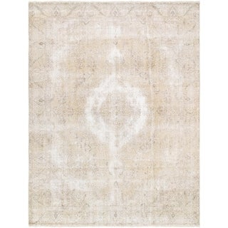 "Pasargad Vintage Overdye Hand-Knotted Biege Wool Area Rug (9' 4"" X 12' 9"")"