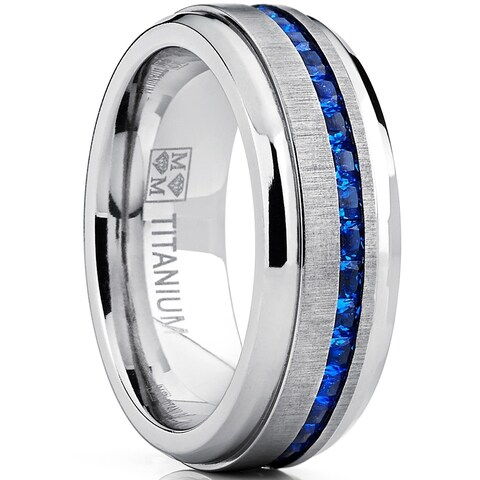 Oliveti Men's Titanium Ring Eternity Wedding Band with Blue Princess-cut Cubic Zirconia 8mm