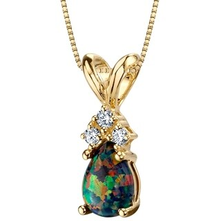 Oravo 14K Yellow Gold Gold Pear Shape Created Black Opal Diamond Pendant