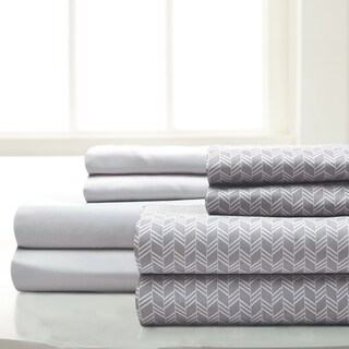 Amrapur Overseas 8-Piece Chevron Printed & Solid Microfiber Sheet Set (More options available)
