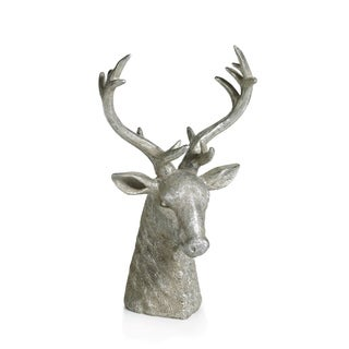 "14"" Tall Stag Head Tabletop Sculpture Christmas Figurine, Silver"