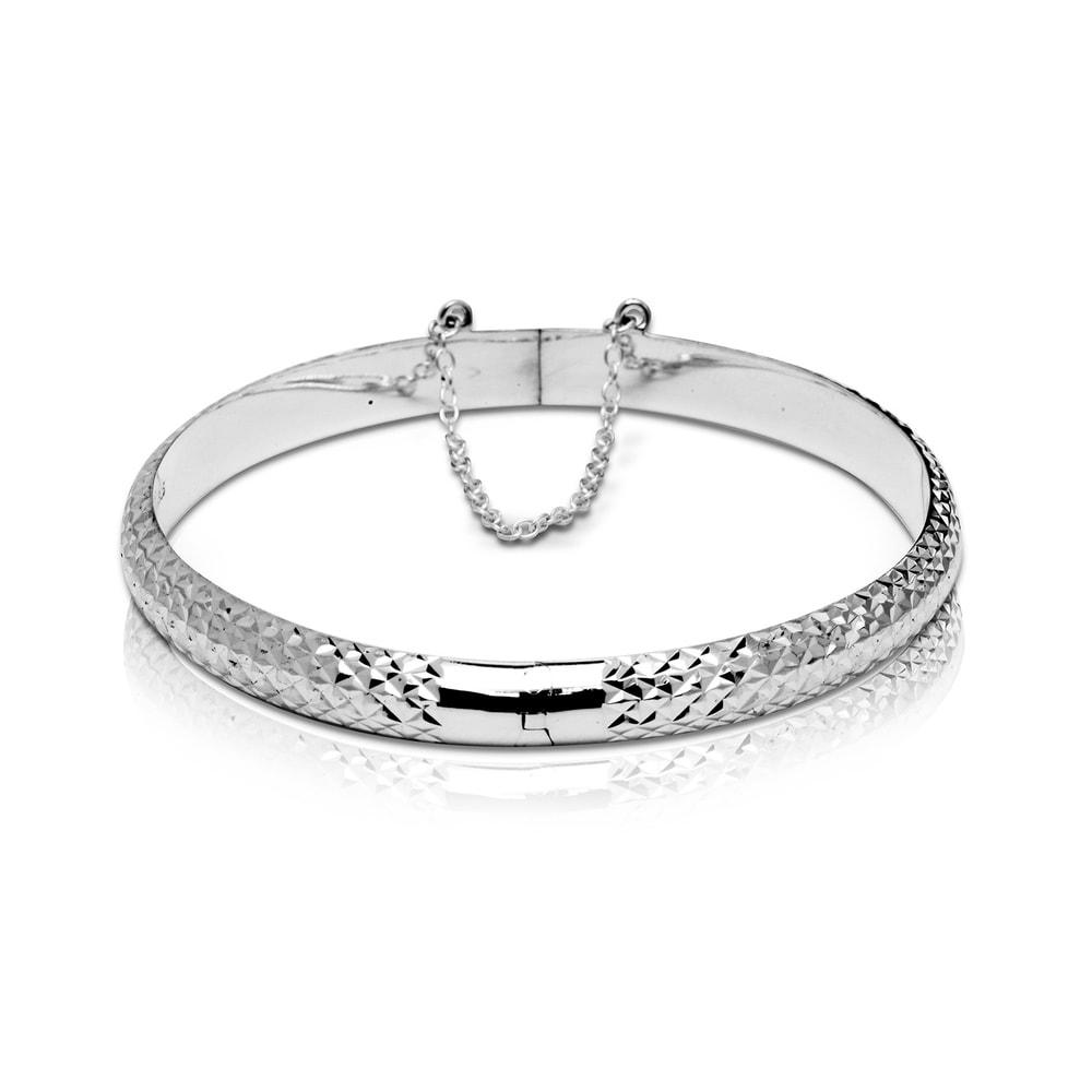 3.75mm Sterling Silver Diamond Cut Slip On Bangle Bracelet