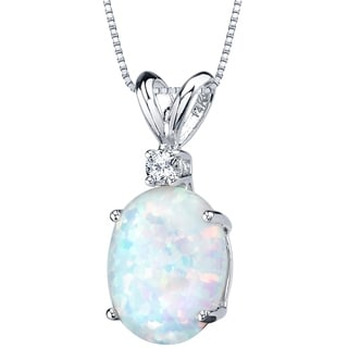 Oravo 14K White Gold Gold Oval Shape Created Opal Diamond Pendant