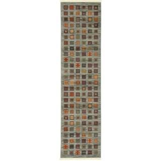 Nomad Blue/Brown Check Runner Rug (2'7 x 10')