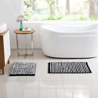 VCNY Home Reily Two Tone Cotton Blend Cut Pile 2-piece Bath Rug Set