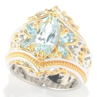 Michael Valitutti Palladium Silver Aquamarine & Swiss Blue Topaz Scrollwork Ring