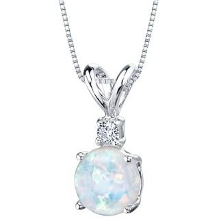 Oravo 14K White Gold Gold Created Opal Diamond Solitaire Pendant