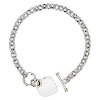 Sterling Silver 8-Inch Bold Designer Heart Tag Charm Bracelet with Toggle Closure