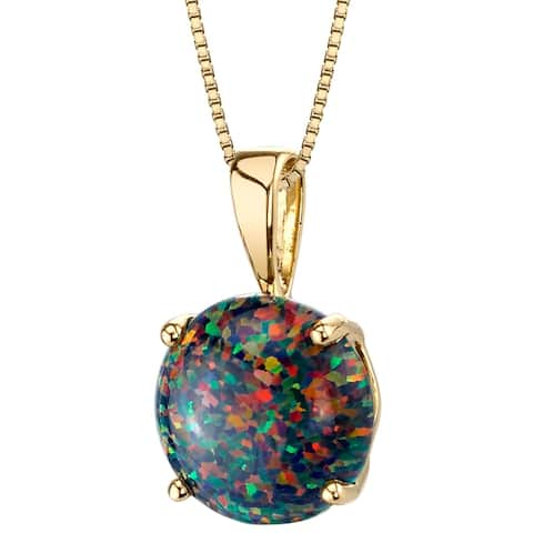 Oravo 14K Yellow Gold Gold Created Black Opal Solitaire Pendant