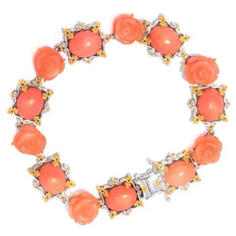 Michael Valitutti Palladium Silver Salmon Coral Carved Flower Line Bracelet - Pink