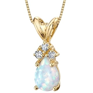 Link to Oravo 14K Yellow Gold Gold Pear Shape Created Opal Diamond Pendant Similar Items in Necklaces
