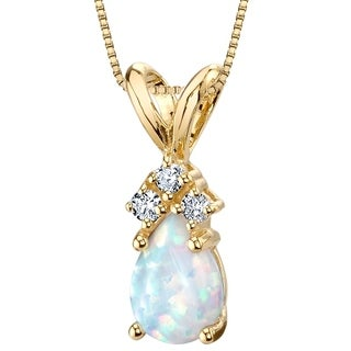 Oravo 14K Yellow Gold Gold Pear Shape Created Opal Diamond Pendant