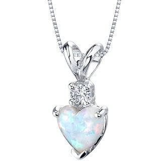 Oravo 14K White Gold Gold Heart Shape Created Opal Diamond Pendant