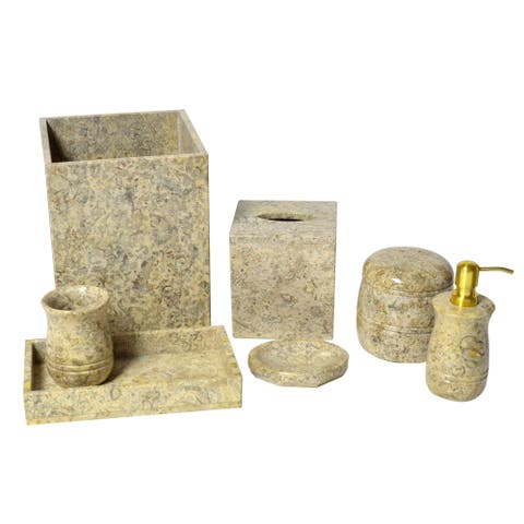 Polished Marble 7-Piece Bath Set, Fossil, Shower and Bathroom Accessory