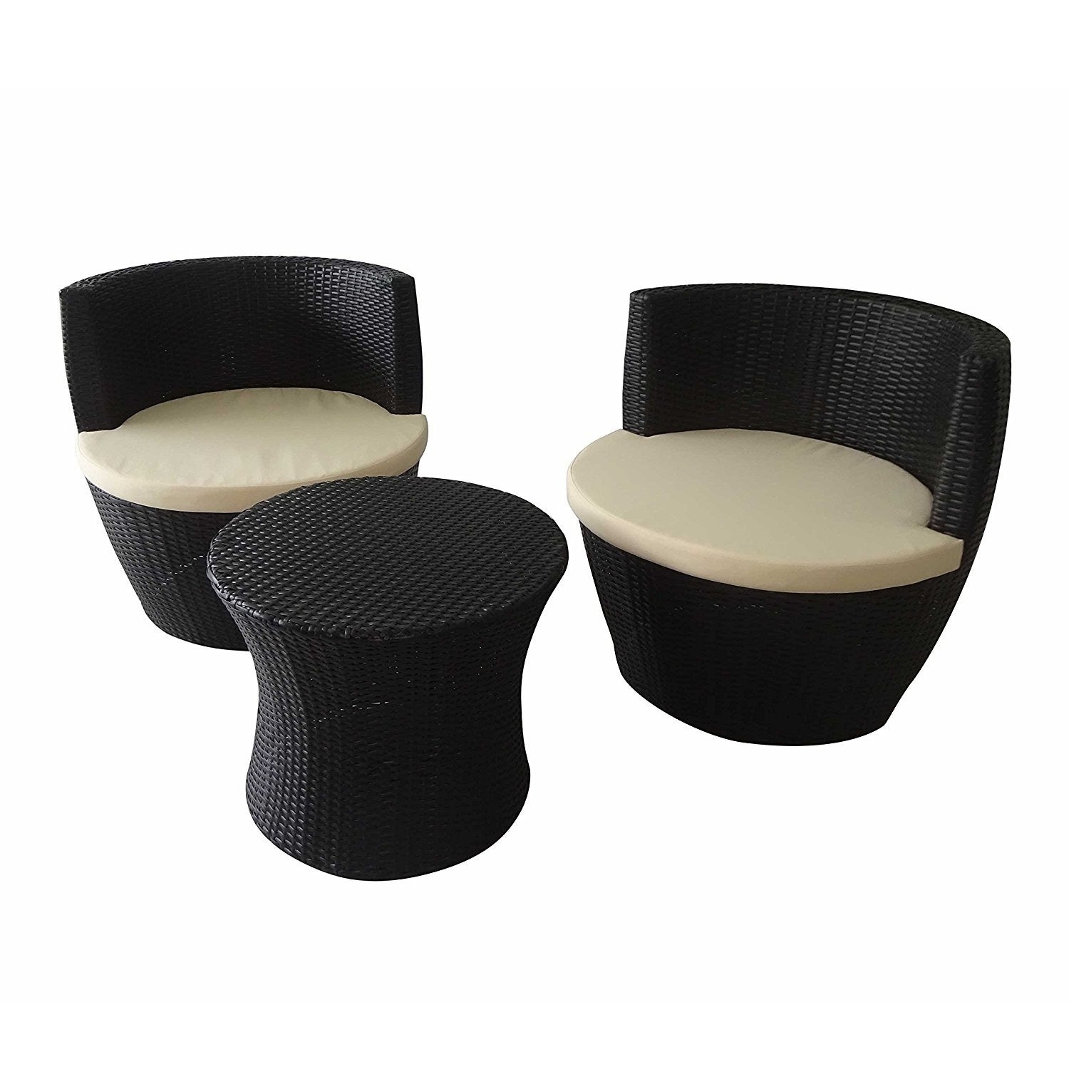 Aleko Indoor Outdoor 3 Piece Rattan Furniture Set with Cu...