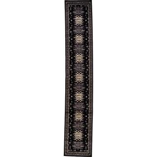 Heriz Black/Cream Floral Runner Rug (3' x 16'5)