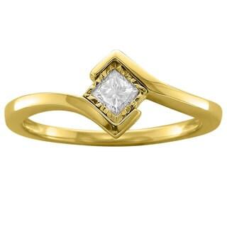 14k Yellow Gold 1/5ct TDW Princess-cut White Diamond Solitaire Ring - White H-I