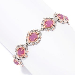 Michael Valitutti Palladium Silver Rose Cut Pink Sapphire Scrollwork Halo Tennis Bracelet
