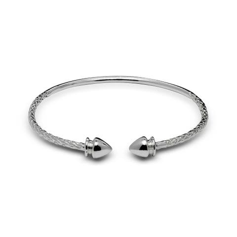 Sterling Silver Small Arrow End Cap Cable Children's Adjustable Cuff Bangle Bracelet