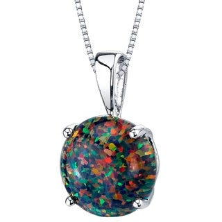Oravo 14K White Gold Gold  Created Black Opal Solitaire Pendant